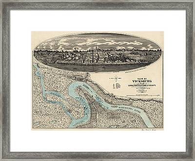 Antique Map Of Vicksburg Mississippi By L. A. Wrotnowski - 1863 Framed Print by Blue Monocle
