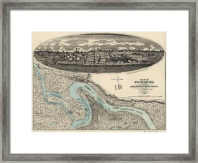 Antique Map Of Vicksburg Mississippi By L. A. Wrotnowski - 1863 Framed Print