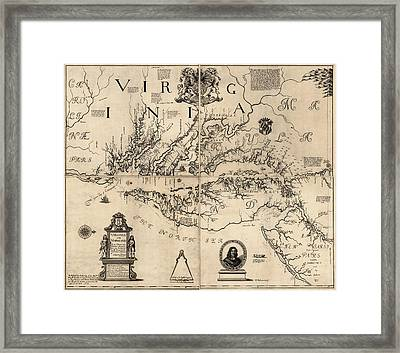 Antique Map Of Virginia And Maryland By Augustine Herrman - 1673 Framed Print by Blue Monocle