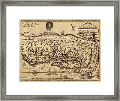 Antique Map Of Virginia And Maryland By John Farrer - Circa 1667 Framed Print