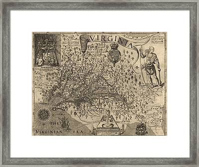 Antique Map Of Virginia And Maryland By John Smith - 1624 Framed Print by Blue Monocle