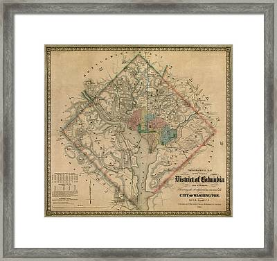 Antique Map Of Washington Dc By Colton And Co - 1862 Framed Print by Blue Monocle
