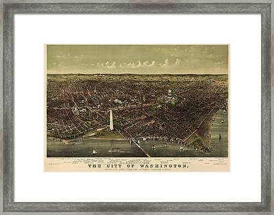 Antique Map Of Washington Dc By Currier And Ives - Circa 1892 Framed Print by Blue Monocle