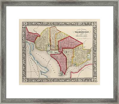 Antique Map Of Washington Dc By Samuel Augustus Mitchell - 1863 Framed Print