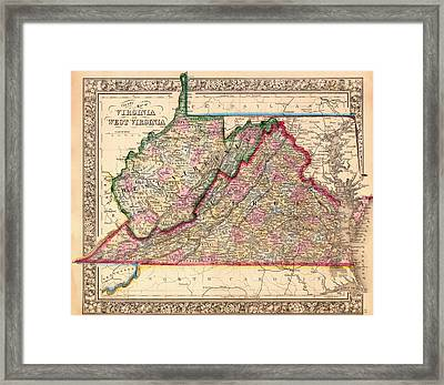 Antique Map Of West Virginia And Virginia 1864 Framed Print by Mountain Dreams