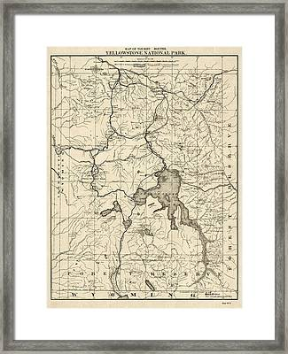 Antique Map Of Yellowstone National Park By The U. S. War Department - 1900 Framed Print