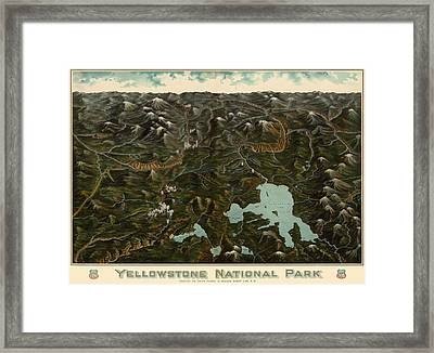 Antique Map Of Yellowstone National Park By The Union Pacific Railroad Co. - Circa 1900 Framed Print by Blue Monocle