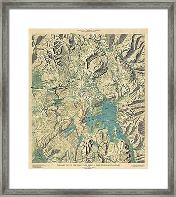 Antique Map Of Yellowstone National Park By The Usgs - 1915 Framed Print by Blue Monocle