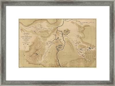 Antique Map Of Yellowstone National Park - Lower Geyser Basin - 1872 Framed Print by Blue Monocle