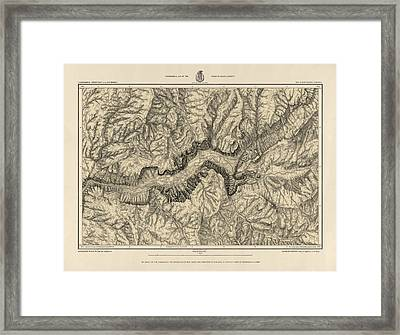 Antique Map Of Yosemite National Park By George M. Wheeler - Circa 1884 Framed Print by Blue Monocle
