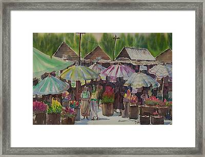Antique Market Framed Print by Kantawan Sukaum