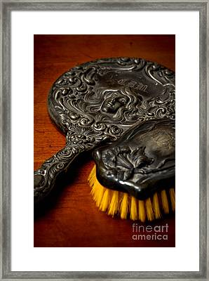 Antique Mirror And Brush Framed Print by Amy Cicconi