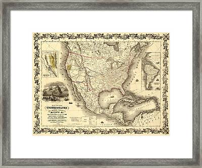 Antique North America Map Framed Print