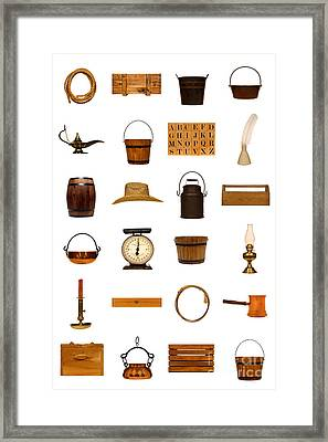 Antique Objects Collection Framed Print