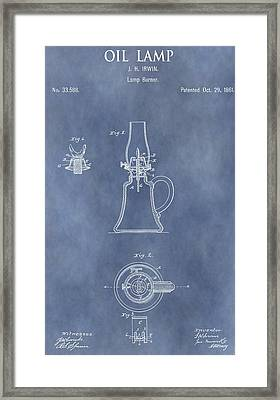 Antique Oil Lamp Patent Framed Print by Dan Sproul