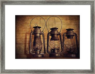 Antique Oil Lamps Framed Print by Maria Angelica Maira