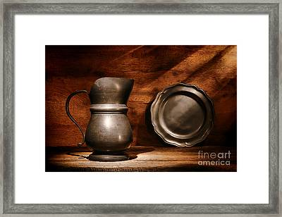 Antique Pewter Pitcher And Plate Framed Print