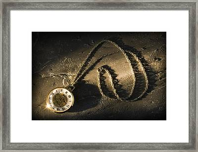 Antique Pocket Watch On Chain Framed Print by Corey Hochachka