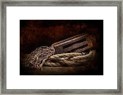 Antique Pulley Framed Print