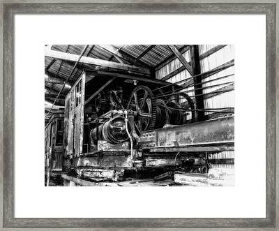 Antique Railroad Crane Black And White Framed Print by Thomas Woolworth