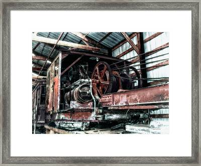 Antique Railroad Crane Framed Print by Thomas Woolworth