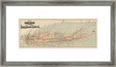 Antique Railroad Map Of Long Island By The American Bank Note Company - Circa 1895 Framed Print by Blue Monocle