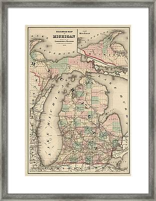 Antique Railroad Map Of Michigan By Colton And Co. - 1876 Framed Print by Blue Monocle