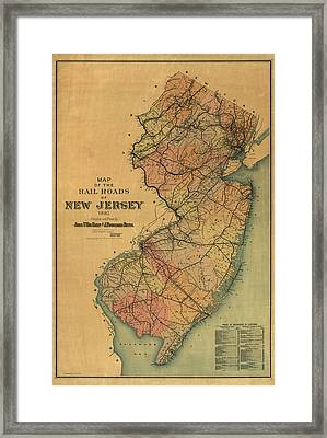 Antique Railroad Map Of New Jersey By Van Cleef And Betts - 1887 Framed Print by Blue Monocle