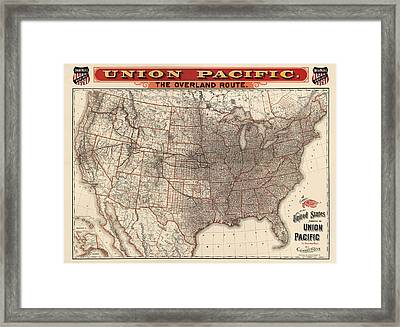 Antique Railroad Map Of The United States - Union Pacific - 1892 Framed Print