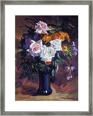 Antique Roses Framed Print by David Lloyd Glover