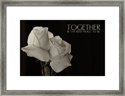 Antique Roses With Message Framed Print