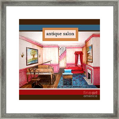 Antique Salon - Colonial Red And Blue Framed Print by Kristie Hubler