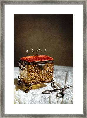 Antique Sewing Casket Framed Print