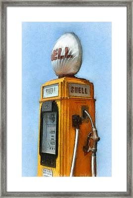 Antique Shell Gas Pump Framed Print