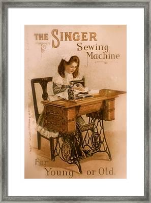 Antique Singer Sewing Machine Framed Print