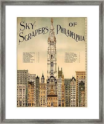 Antique Skyscrapers Of Philadelphia Poster 1898 Framed Print