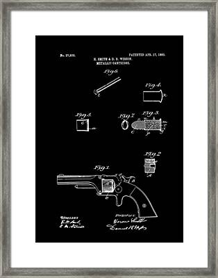 Antique Smith And Wesson Patent For A Metallic Cartridge 1860 Framed Print by Mountain Dreams