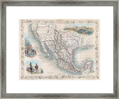 Antique Southwest Map 1851 Framed Print by Dan Sproul