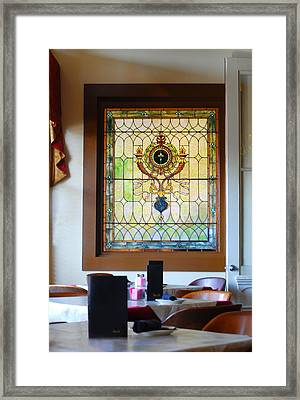Antique Stained Glass Window At The Ant Street Inn Framed Print by Connie Fox