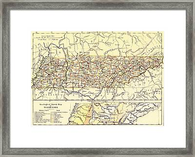 Antique State Of Tennessee Map 1888 Framed Print by Mountain Dreams