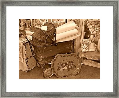 Antique Still Life With Baby Carriage And Other Objects In Sepia Framed Print by Valerie Garner