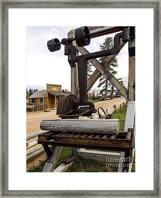 Framed Print featuring the photograph Antique Table Saw Tool Wood Cutting Machine by Paul Fearn