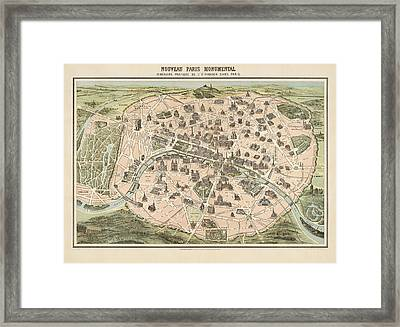 Antique Tourist Map Of Paris France By Garnier - Circa 1860 Framed Print by Blue Monocle