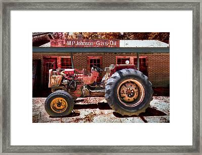 Antique Tractor Framed Print by Debra and Dave Vanderlaan