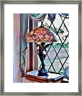 Antique Victorian Lamp At The Boardwalk Plaza - Rehoboth Beach Delaware Framed Print by Kim Bemis