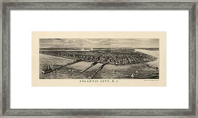 Antique View Of Atlantic City New Jersey - 1905 Framed Print by Blue Monocle
