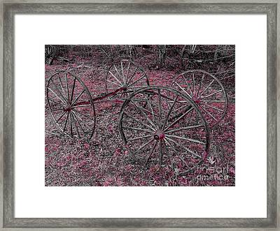 Framed Print featuring the photograph Antique Wagon Wheels by Sherman Perry