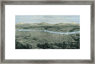 Antique Wall Map Of Portland Framed Print