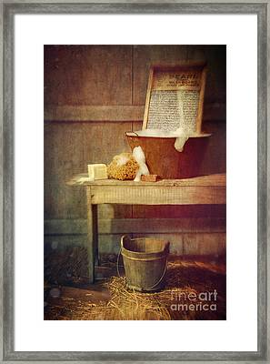 Antique Wash Tub With Soaps Framed Print by Sandra Cunningham