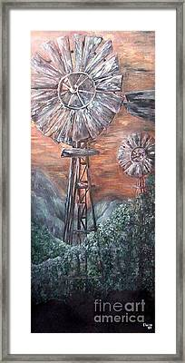 Antique Windmills At Dusk Framed Print by Eloise Schneider